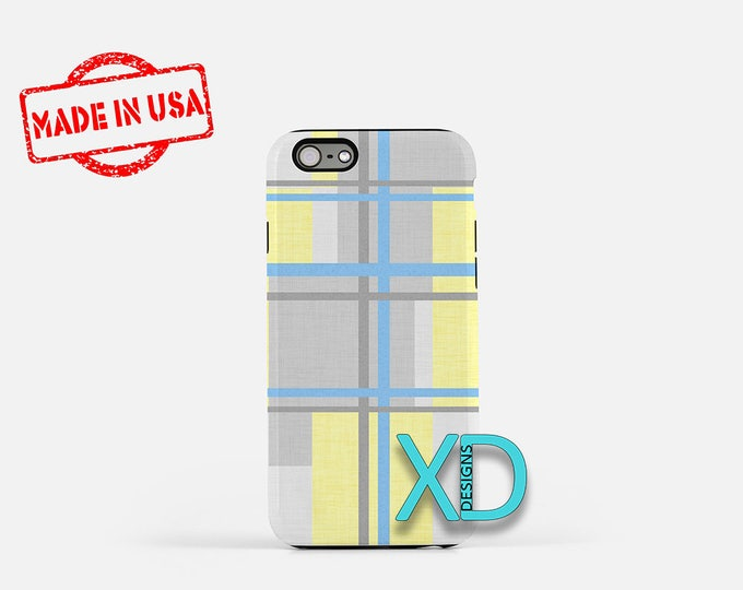 Geometric Aqua iPhone Case, Flannel iPhone Case, Flannel iPhone 8 Case, iPhone 6s Case, iPhone 7 Case, Phone Case, iPhone X Case, SE Case