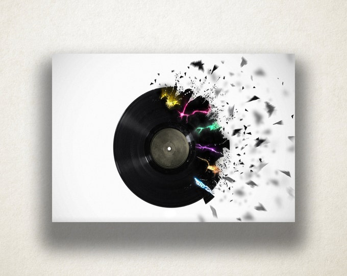 Exploding Record Canvas Art Print, Music Wall Art, Vinyl Record Canvas Print, Record Wall Art, Canvas Art, Canvas Print, Home Art, Wall Art
