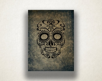 Artistic Demonic Design Canvas Art Print, Skull Wall Art, Gray Canvas Print, Artistic Wall Art, Canvas Art, Canvas Print, Home Art, Wall Art