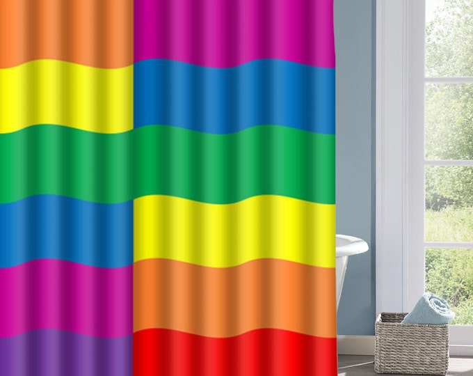 Wavy Rainbow Shower Curtain, Rainbow Striped Bath Curtain, Vibrant Colorful Curtain, Custom Polyester Shower Curtain, Custom Shower Curtain