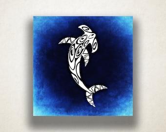 Abstract Hammerhead Canvas Art Print, Shark Wall Art, Blue Canvas Print, Artistic Wall Art, Canvas Art, Canvas Print, Home Art, Wall Art