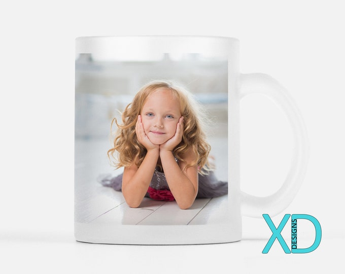 Custom Frosted Glass Mug, 11 Fluid Oz., Photo Mug, Personalized Coffee Mug, Birthday Gift, Gift For Wife, Design Your Own, Coffee Lover