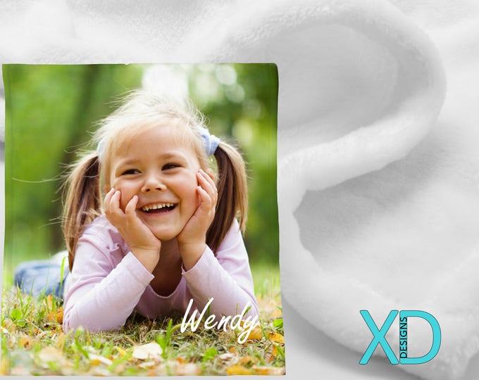 Personalized Minky Micro-Fleece Blanket, White, Custom Blanket, 2 Sizes, 100% Polyester, Custom Fleece, Photo Blanket, Baby Gift, Xmas Gift
