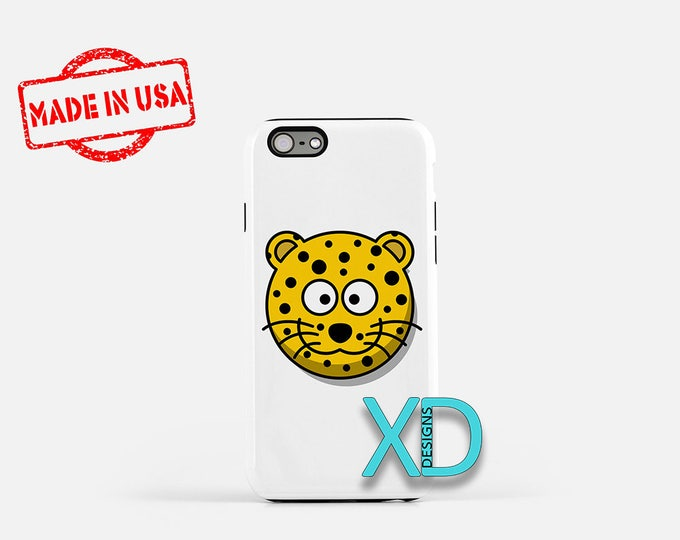 Cartoon Leopard iPhone Case, Animal iPhone Case, Leopard iPhone 8 Case, iPhone 6s Case, iPhone 7 Case, Phone Case, iPhone X Case, SE Case