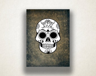 Rose Sugar Skull Canvas Art Print, Skull Print, Black and White Wall Art, Great For Halloween, Affordable Wall Print, Tattoo Art Design