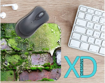 Mossy Mouse Pad, Mossy Mousepad, Wall Rectangle Mouse Pad, Green, Wall Circle Mouse Pad, Mossy Mat, Computer, Plant, Brick, Nature, Outside