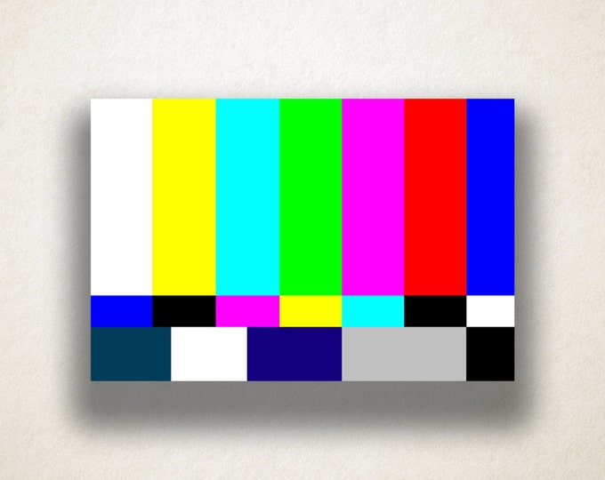 Television Color Bar Canvas Art Print, TV Colorbar Wall Art, Test Pattern Canvas Print, Canvas Art, Canvas Print, Home Art, Wall Art