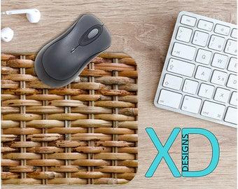 Basket Mouse Pad, Basket Mousepad, Weave Rectangle Mouse Pad, Brown, Weave Circle Mouse Pad, Basket Mat, Computer, Woven, Wicker, Wood