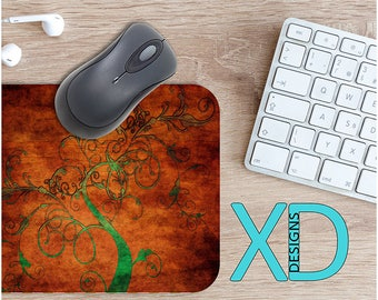 Antiqued Mouse Pad, Antiqued Mousepad, Vine Rectangle Mouse Pad, Copper, Vine Circle Mouse Pad, Antiqued Mat, Computer, Tree, Nature, Branch