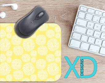 Yellow Flower Mouse Pad, Yellow Flower Mousepad, Blooming Rectangle Mouse Pad, White, Blooming Circle Mouse Pad, Yellow Flower Mat, Computer