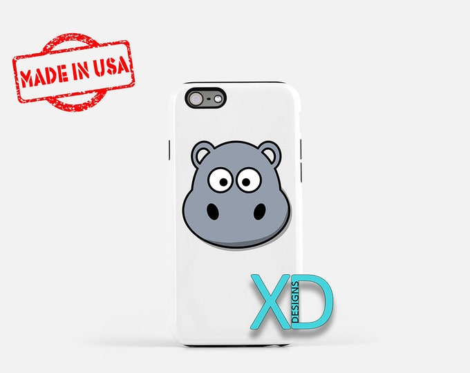 Cartoon Hippo iPhone Case, Animal iPhone Case, Hippo iPhone 8 Case, iPhone 6s Case, iPhone 7 Case, Phone Case, iPhone X Case, SE Case