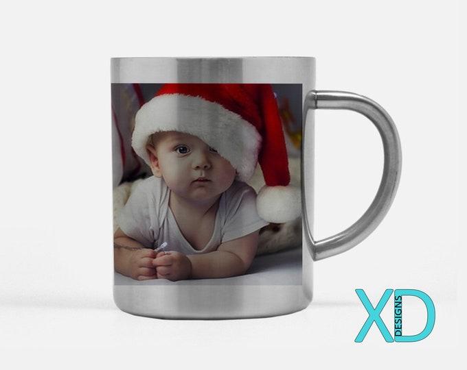 Custom Stainless Steel Mug, Silver Mug, 15 Fluid Oz., Photo Coffee Mugs, Personalized Cup, Metallic, 1 or 2 Sided Design, Christmas Mug