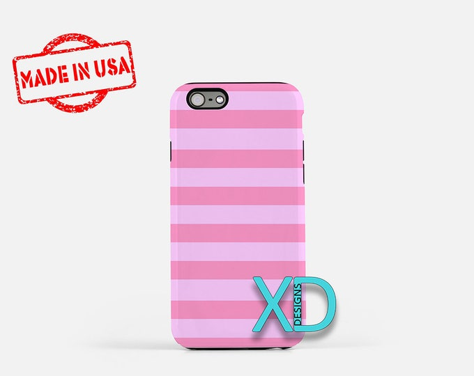 Pink Stripe iPhone Case, Pink iPhone Case, Pink Stripe iPhone 8 Case, iPhone 6s Case, iPhone 7 Case, Phone Case, iPhone X Case, SE Case