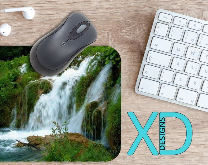 Waterfall Mouse Pad, Waterfall Mousepad, Nature Rectangle Mouse Pad, Green, Blue, Circle Mouse Pad, Waterfall Mat, Computer, Scenic, Realism