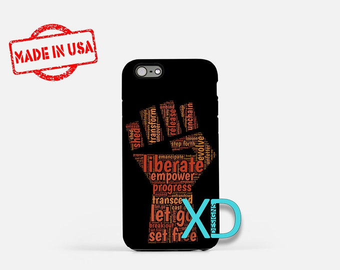 Fist Calligram iPhone Case, Liberate iPhone Case, Word Art iPhone 8 Case, iPhone 6s Case, iPhone 7 Case, Phone Case, iPhone X Case, SE Case