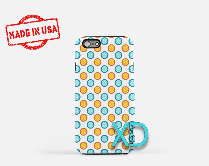 Button Phone Case, Button iPhone Case, Dot iPhone 7 Case, Blue, Orange, Dot iPhone 8 Case, Button Tough Case, Clear Case, Sewn, Fasten