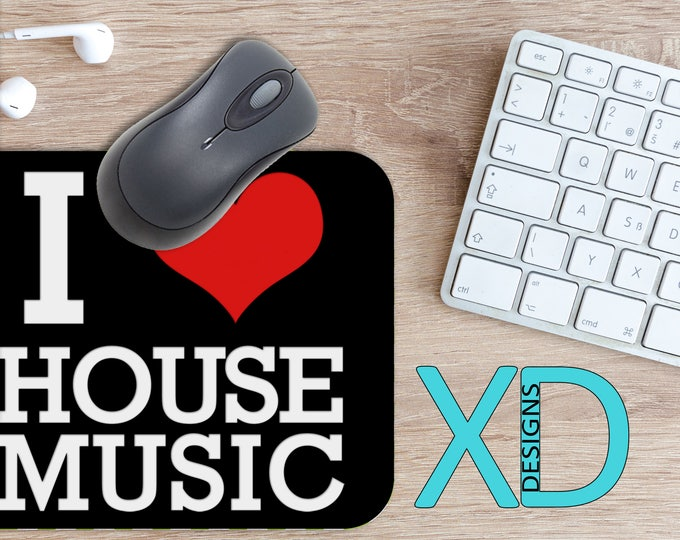 House Music Mouse Pad, House Music Mousepad, Love Rectangle Mouse Pad, Black, Love Circle Mouse Pad, House Music Mat, Computer, Red Heart