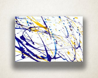 Blue and Yellow Paint Splatter Canvas Art, Paint Design, Abstract Wall Decor, Artistic Colorful Print, High Quality