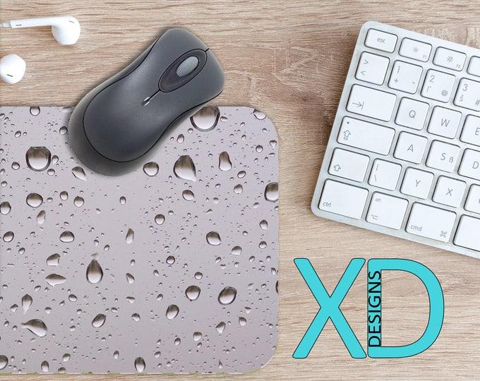 Rain Drop Mouse Pad, Rain Drop Mousepad, Water Rectangle Mouse Pad, Gray, Water Circle Mouse Pad, Rain Drop Mat, Computer, Wet, Droplet