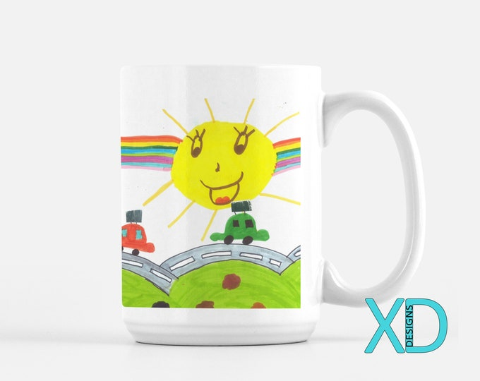 Mug Designed By Your Kid, 3 Style Options, Gift From Kid To Dad, Gift For Teacher, Kid Art, Ceramic Classic Mug, Photo Mug, Gift Idea
