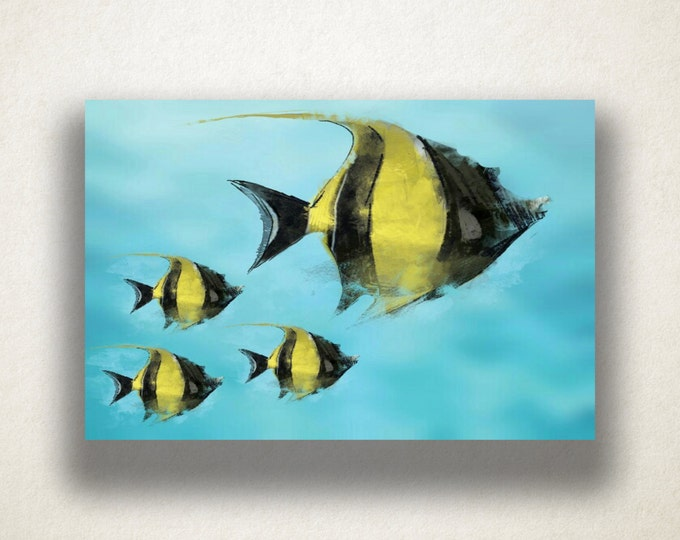 Angelfish Drawing Canvas Art Print, Ocean Wall Art, Fish Canvas Print, Artistic Fish Wall Art, Canvas Art, Canvas Print, Home Art, Wall Art