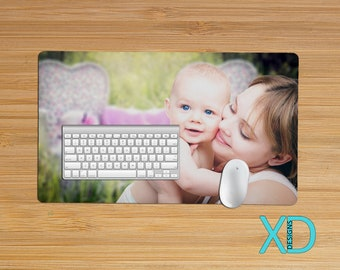 Custom Desk Mat, Large or Small Photo Mousepad, Personalized Computer Accessory, Tech Work Gift, Office Gift Idea, Neoprene, Teacher Gift