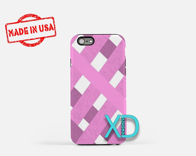Pink Weave iPhone Case, Fabric iPhone Case, Pink Weave iPhone 8 Case, iPhone 6s Case, iPhone 7 Case, Phone Case, iPhone X Case, SE Case