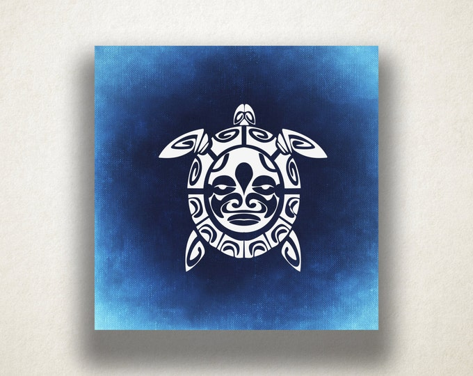 Sea Turtle Canvas Art Print, Mayan Symbol Wall Art, Reptile Canvas Print, Artistic Wall Art, Canvas Art, Canvas Print, Home Art, Wall Art