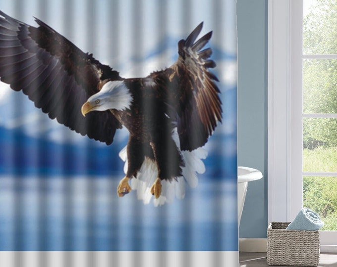 Eagle Shower Curtain, Eagle  Bath Curtain, Real Bird Curtain, Real Eagle, Interesting Shower Curtain, Custom Shower Curtain, Decorative