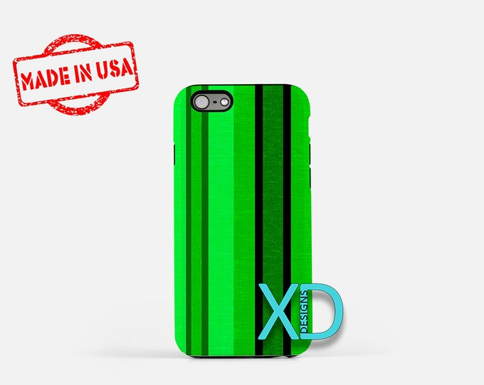 Green Stripe iPhone Case, Line iPhone Case, Green Stripe iPhone 8 Case, iPhone 6s Case, iPhone 7 Case, Phone Case, iPhone X Case, SE Case