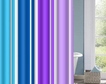 Blue and Purple Stripe Shower Curtain, Striped Bath Curtain, Purple and Blue Curtain, Custom Polyester Shower Curtain, Custom Shower Curtain