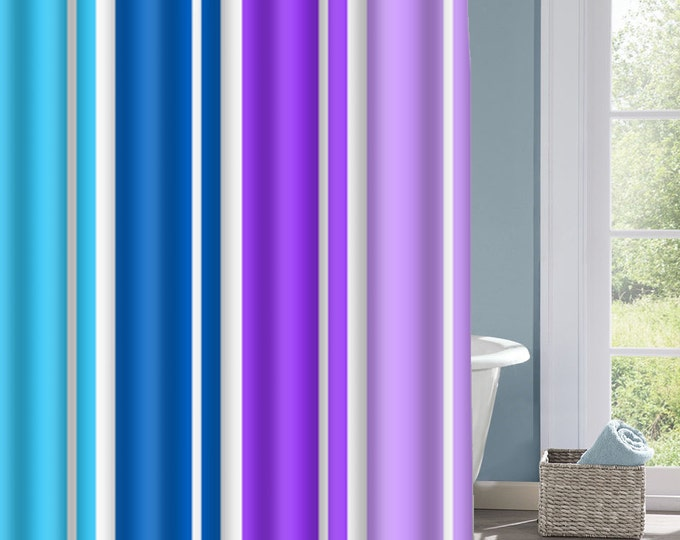 Blue and Purple Stripe Shower Curtain, Striped Bath Curtain, Purple and Blue Curtain, Custom Polyester Shower Curtain, Custom Shower Curtain