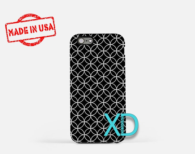 White Ring Phone Case, White Ring iPhone Case, Diamond iPhone 7 Case, Black, Diamond iPhone 8 Case, White Ring Tough Case, Clear Case, Round