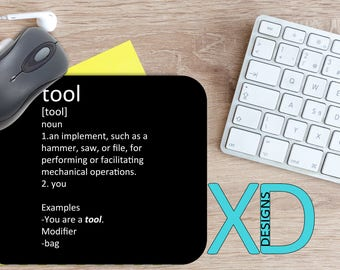 Tool Definition Mouse Pad, Tool Definition Mousepad, Funny Rectangle Mouse Pad, Black, Funny Circle Mouse Pad, Tool Mat, Computer, Insult
