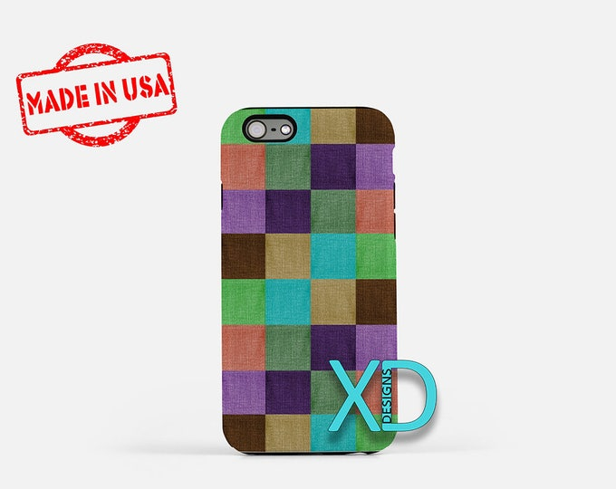 Fabric Square iPhone Case, Patch iPhone Case, Patch iPhone 8 Case, iPhone 6s Case, iPhone 7 Case, Phone Case, iPhone X Case, SE Case
