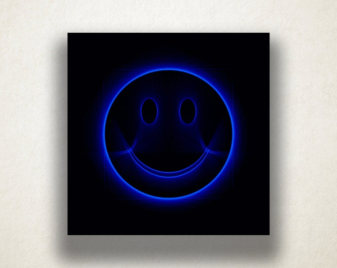 Blue Smiley Face Canvas Art Print, Fun Wall Art, Smiley Face Canvas Print, Artistic Wall Art, Canvas Art, Canvas Print, Home Art, Wall Art