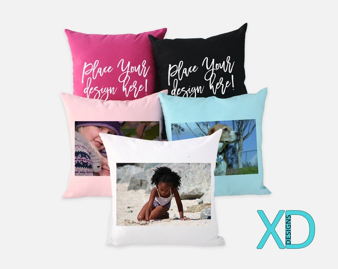 Color Photo Pillow, Cotton, 5 Colors Available!, 18x18 Custom Pillow Case, Personalized Decor, Couch Pillow, Wedding Present, Baby Shower