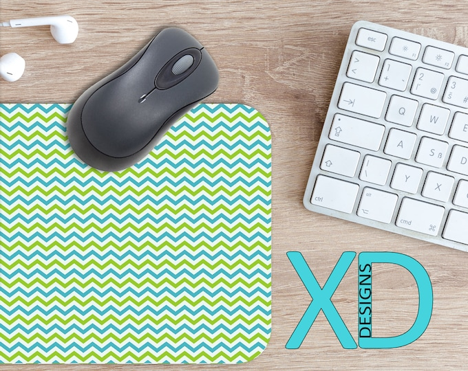 Blue Chevron Mouse Pad, Blue Chevron Mousepad, Edgy Rectangle Mouse Pad, Green, Edgy Circle Mouse Pad, Blue Chevron Mat, Computer, Waves