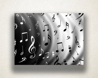 Music Notes Canvas Art Print, Music Wall Art, Abstract Music Design Canvas Print, Gift For Music Lover, Artistic Musical Design, Treble Clef