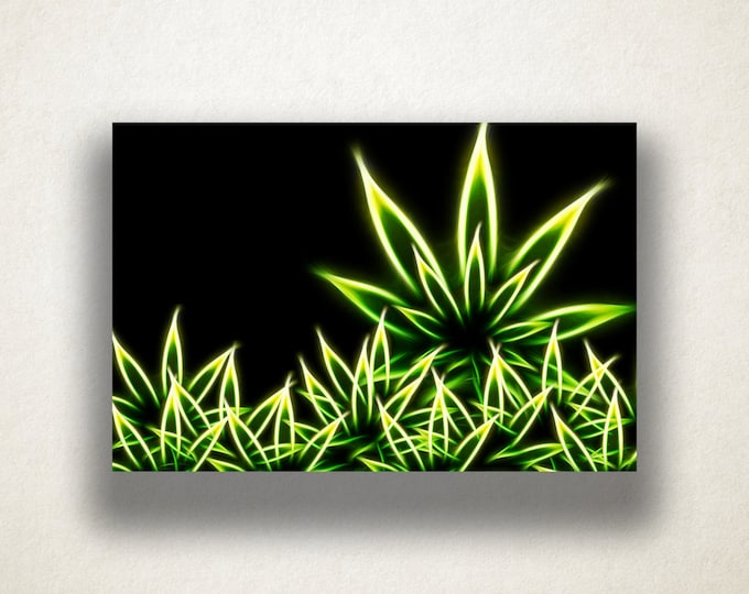 Neon Weed Art Canvas Art Print, Vibrant Weed Wall Art, Weed Canvas Print, Marijuana Wall Art, Canvas Art, Canvas Print, Home Art, Wall Art