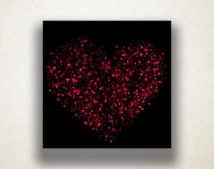 Sparkling Heart Canvas Art Print, Glitter Heart Wall Art, Pink Canvas Print, Artistic Wall Art, Canvas Art, Canvas Print, Home Art, Wall Art