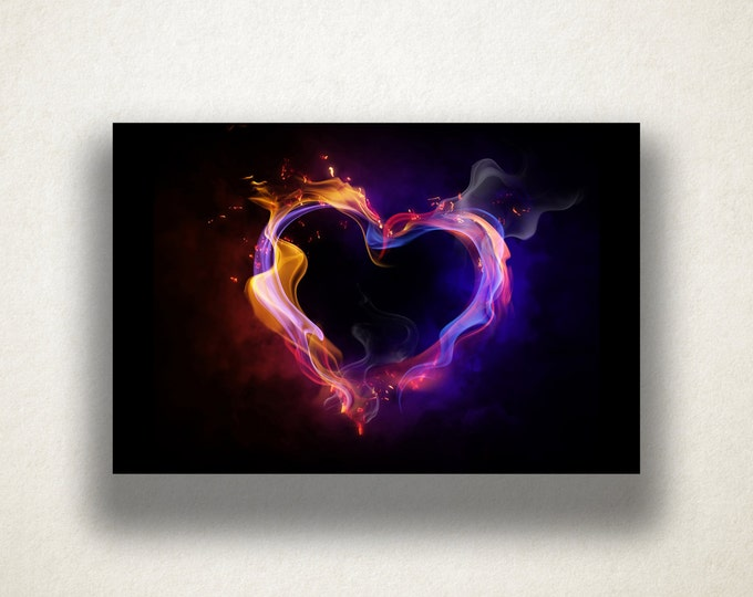 Abstract Flame Heart Canvas Art Print, Flame Wall Art, Heart Canvas Print, Abstract Wall Art, Canvas Art, Canvas Print, Home Art, Wall Art