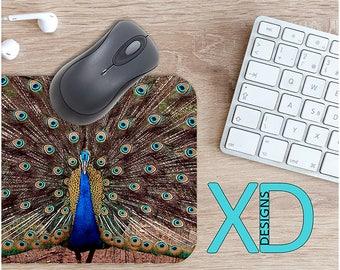 Peacock Mouse Pad, Peacock Mousepad, Bird Rectangle Mouse Pad, Blue, Bird Circle Mouse Pad, Peacock Mat, Computer, Animal, Feather, Regal