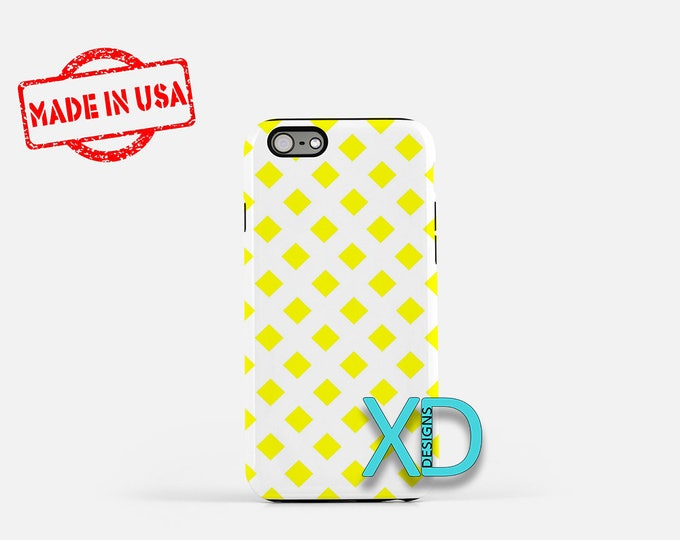 Yellow Diamond iPhone Case, Pattern iPhone Case, Pattern iPhone 8 Case, iPhone 6s Case, iPhone 7 Case, Phone Case, iPhone X Case, SE Case