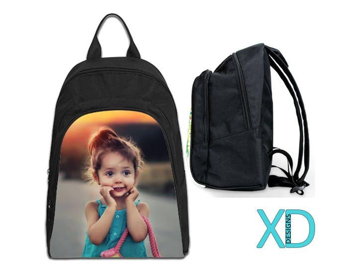 Custom Backpack, Small Photo Bookbag, Photo Backpack, Black Bookbag, Personalized Bag, Monogram, Oxford Fabric, Kid's Backpack, School Bag