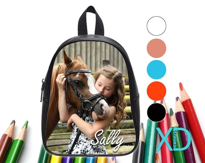 Custom Bookbag, Custom Backpack, 5 Colors, Personalized Bookbag, Back To School, Faux Leather Bag, Monogram Bookbag, School Bag, Leather