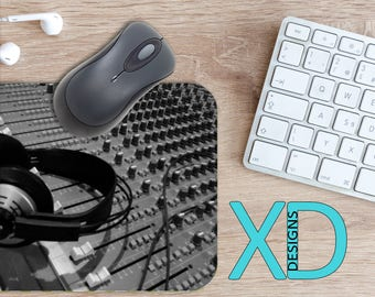 Mixing Board Mouse Pad, Mixing Board Mousepad, Audio Rectangle Mouse Pad, Black, Audio Circle Mouse Pad, Mixing Board Mat, Computer, Music