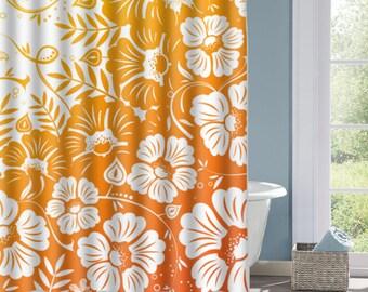 Orange Gradient Floral Shower Curtain, Orange Floral  Bath Curtain, Custom Polyester Shower Curtain, Custom Shower Curtain, Decorative