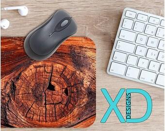 Wood Knot Mouse Pad, Wood Knot Mousepad, Tree Bark Rectangle Mouse Pad, Brown, Tree Bark Circle Mouse Pad, Wood Knot Mat, Computer, Wooden