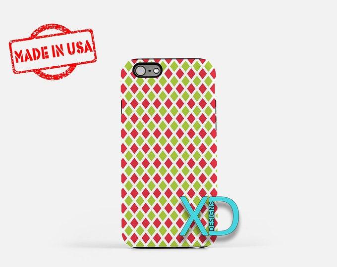 Diamond Phone Case, Diamond iPhone Case, Christmas iPhone 7 Case, Red and Green, Christmas iPhone 8 Case, Diamond Tough Case, Clear Case